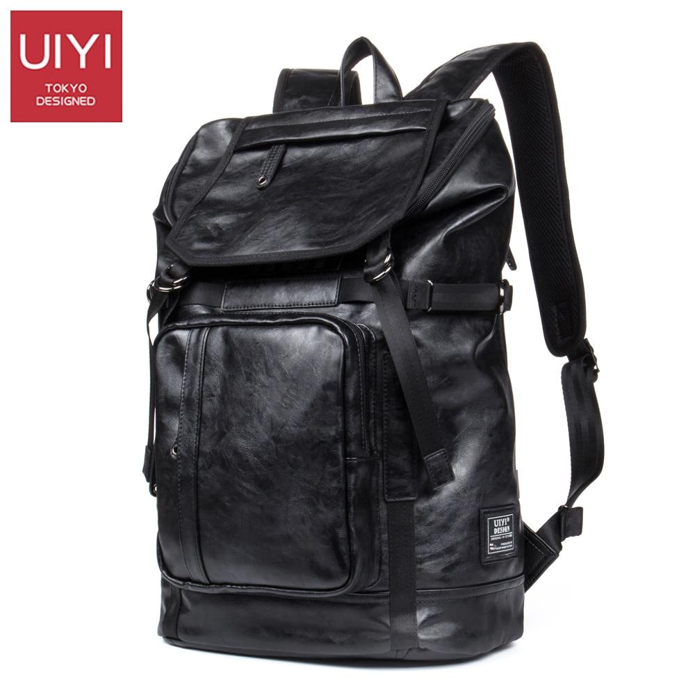 UIYI искусственная кожа мужчины рюкзак черный молния плечо сумка мода большой емкости рюкзак путешествия рюкзак мужчин # UYB6108