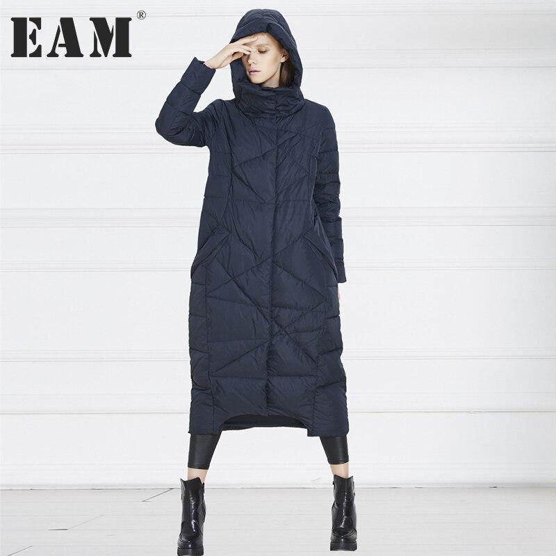 [EAM] Новинка 2017 года осень-зима одноцветное Цвет темно-синий оранжевый Свободные Большой Размеры Длинное теплое пальто Для женщин куртки мод...