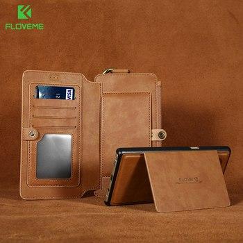 FLOVEME حقيبة لهاتف سامسونج غالاكسي S10 S9 S8 زائد S10E S7 S6 حافة ملاحظة 9 4 5 الرجعية محفظة من جلد pu حامل حلقي فتحة للبطاقات غطاء حقيبة