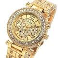 Relogio feminino de Luxo Da Marca As Mulheres Se Vestem Relógios de Quartzo de Aço Relógio de Diamantes Relógios de Ouro para As Mulheres Casual relógio de Pulso