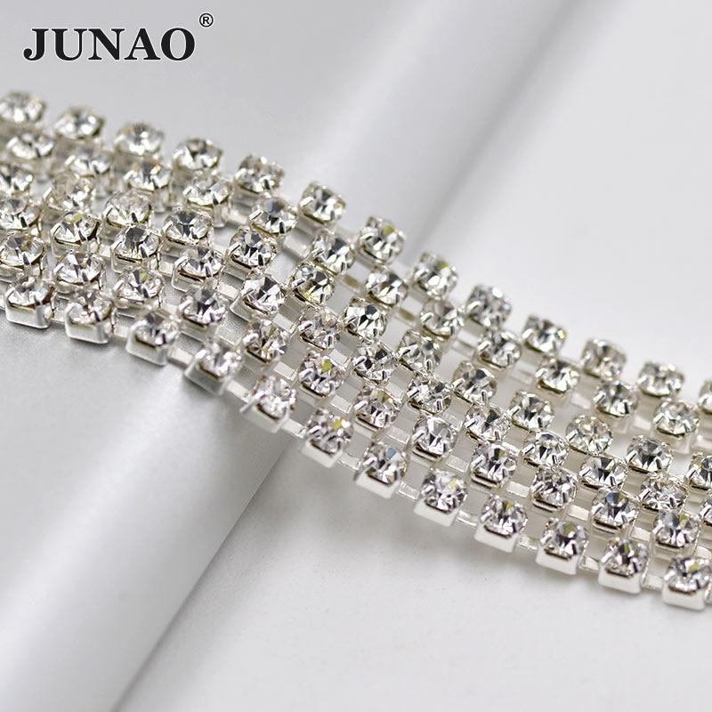JUNAO ss12 7.4 Meter Clear Kristallen Steentjes Cup Chain Banding - Kunsten, ambachten en naaien