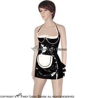 الأسود مع الأبيض الرسن مثير الفرنسية خادمة الذراعين الرتوش المطاط اللثي اللباس مع المئزر موحدة playsuit bodycon LYQ-0021