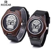REDEAR Pareja Reloj de Cuarzo Importado Movt Cráneo Patrón Dial Caso Reloj de pulsera De Madera