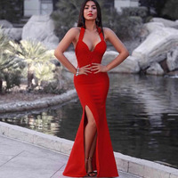 Seamyla 2018 New Arrival Women Bandage Dress Red Black Maxi Dresses Halter Neck Sleeveless Celebrity Party Long Dress Vestidos