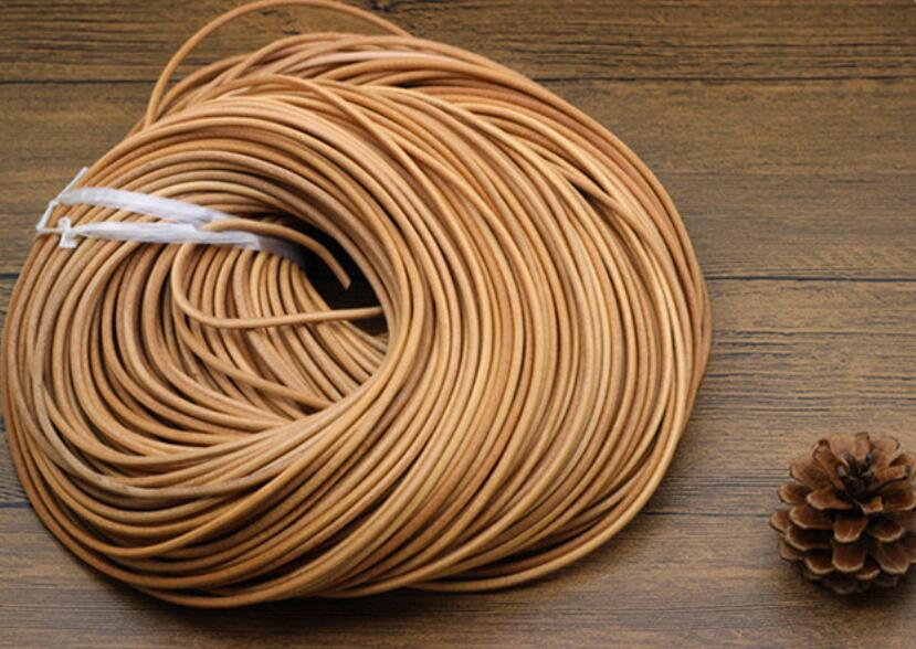 Free shipping 100m 328 feet 3mm natural Round Cowhide Genuine Leather Cord 3mm Tan Real Leather