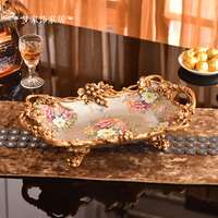 fruit plate Home Furnishing living room coffee table ornaments luxury double handle fruit dish retro fruit bowl dish