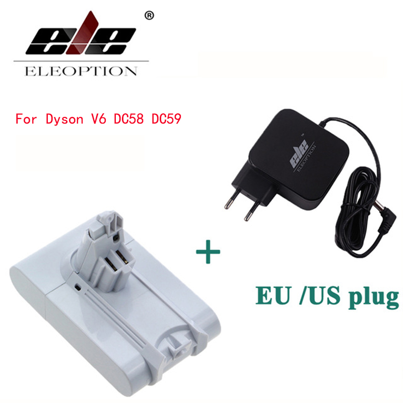 ELEOPTION 21.6V 3000mAh Li-ion Battery For Dyson V6 Mattress Cordless Handheld Vacuum Cleaner For Dyson DC58 DC59 With Charger new high quality extension pipe hose soft tube for dyson vacuum dc34 dc44 dc58 dc59 v6 free post
