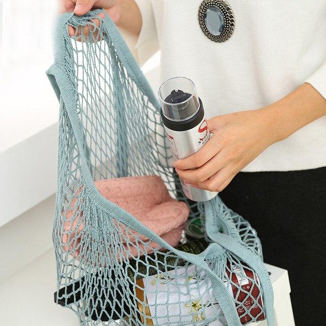 Venda quente Rede de Malha Saco de Compras Bolsa de Ombro Longa Alça Reutilizável Mercearia Shopper Tote do Algodão de Malha Tecido Líquido Da Cadeia de Frutas bags3.1