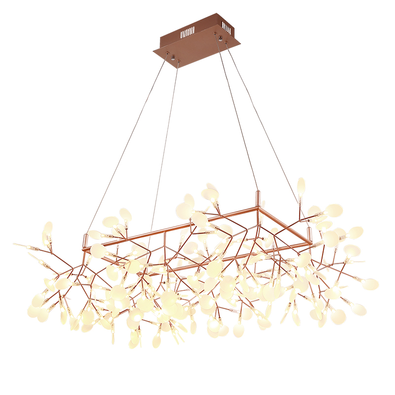 Kung Creative tree branch led pendant light post modern 85cm x 85cm shape firefly led lamp acrylic bat black gold hanging lamp