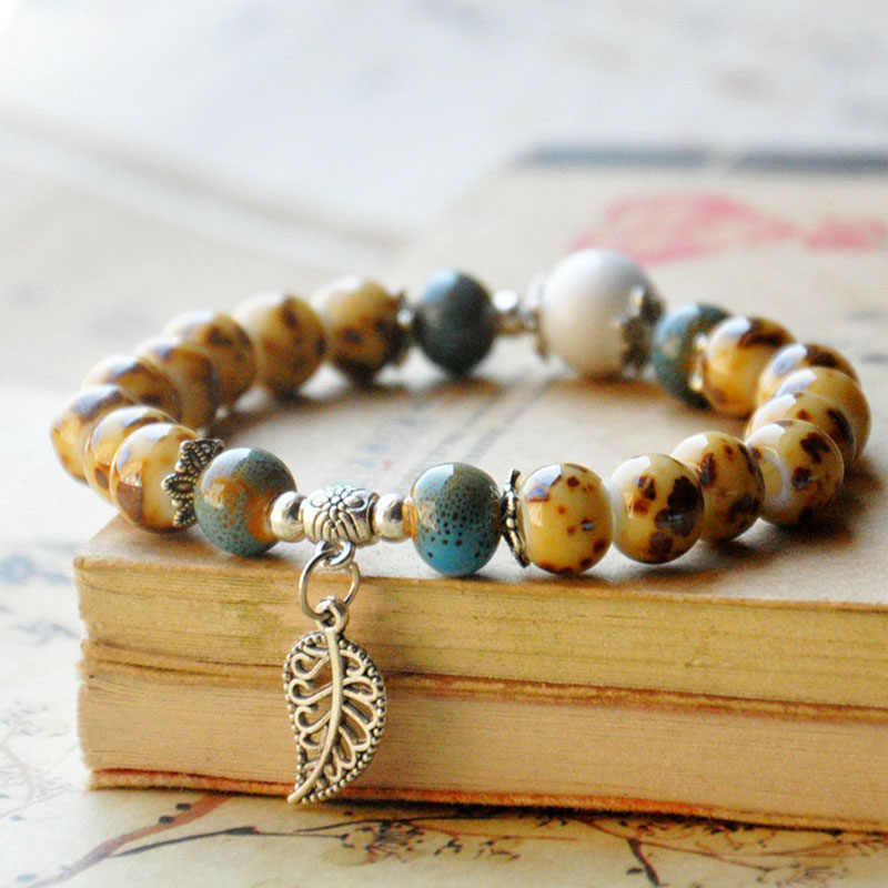 Silver Color Hollow Leaf Ceramic Strand Bracelets Women Men Flower Charm Beads Bangles Accessories Chain Wristbands Jewelry
