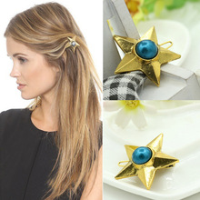 Vintage pearl gem five-pointed star hairpin