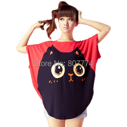 2015 New Summer Women Big Cat Smile Short Batwing Sleeved Shirt Cute Loose Fit Top (Red,Black) Freeshipping #1033
