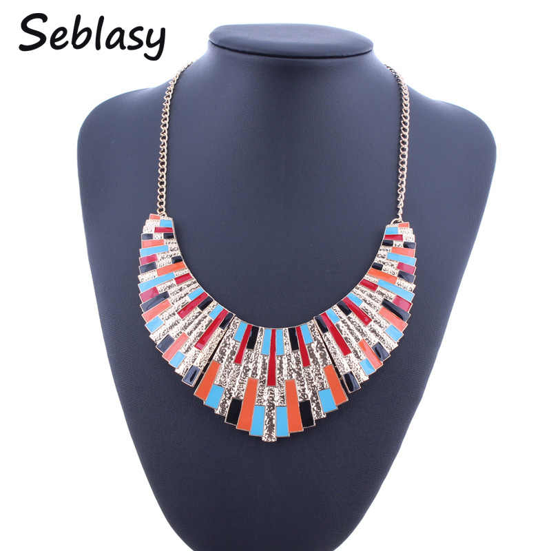 Seblasy Fancy Enamel Bib Statement Necklaces Gold Color Sector Alloy Graffiti Piano Choker Necklaces & Pendants For Women Bijoux