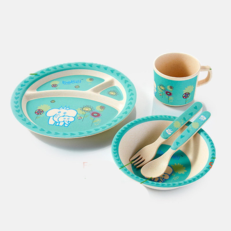 Incroyable Bamboo Fiber Children Tableware 5pcs/set Baby Dishes Plate Bow Cup Forks  Spoon Dinnerware Feeding Set Food Container Vs Pratos In Dishes From Mother  U0026 Kids ...