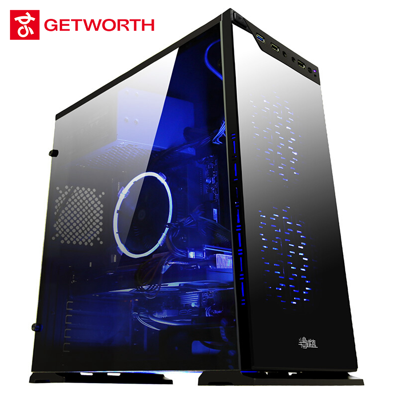 GETWORTH R32 Gamer Xtreme Gaming Desktop PC I5 7400 RX580 8G RAM 1TB HDD WIFI Win10 Home Cool CPU Cooler VR Ready MATX image
