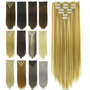 Soowee 24inch 7pcs/set 16Clips Full Head Straight Synthetic Hairpieces Heat Resistant Black to Grey Ombre Clip in Hair Extension 5