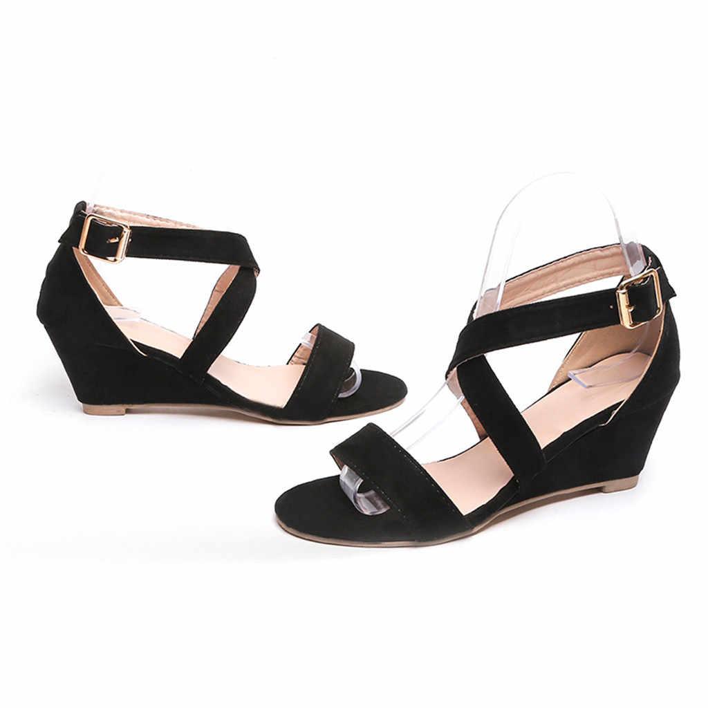 YOUYEDIAN/женские модные повседневные сандалии на танкетке в римском стиле с пряжкой на ремешке обувь с открытым носком на низком каблуке женская летняя обувь на платформе; #4