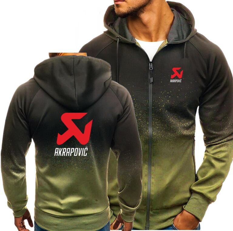 Spring Casual Men Hoodies AKRAPOVIC Decal Zipper Sweatshirts Fashion Mens Hooded Jackets Autumn Male Coat Hoody Outwear