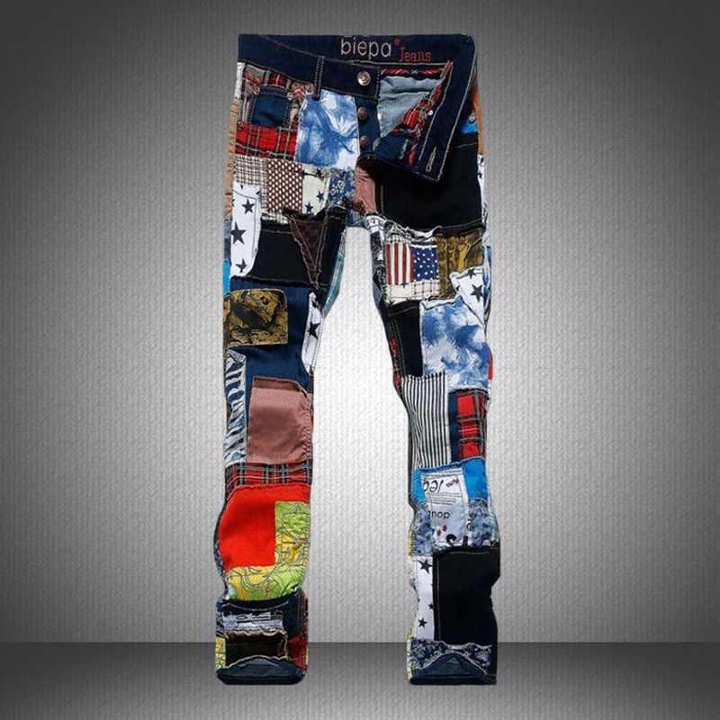 ФОТО Men's Fashion Brand Casual Harem Pants 100% Cotton Patchwork Men Denim Trousers Colorful Jeans Luxury Slim Straight Jeans Men