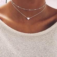 Женские ожерелья с фигуркой сердца и кулонами, многослойное ожерелье с двойной цепочкой, эффектное ювелирное изделие