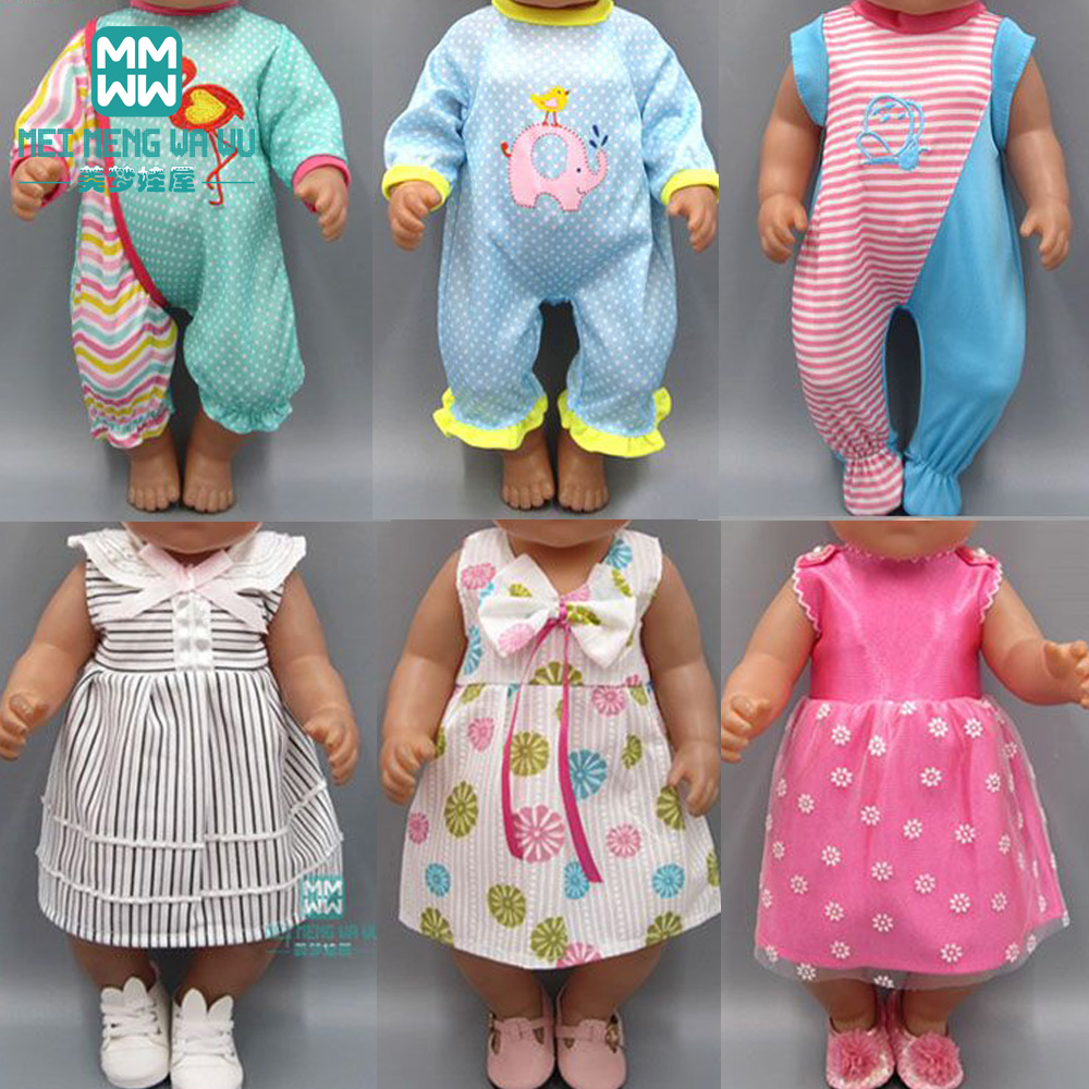 Clothes For Doll Fit 43 Cm Toy New Born Doll Accessories Baby One-piece Clothes Leisure Dress