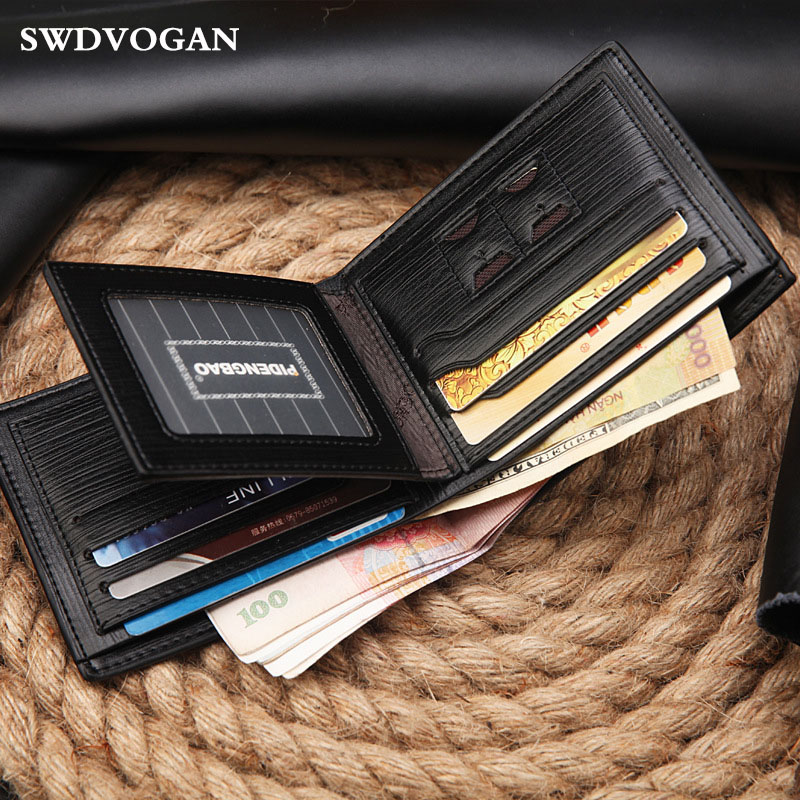 Short Wallet Male Soft Wallet For Men Wallets Vintage PU Leather Small Men Purse Money Business Card Holder Carteira Masculina
