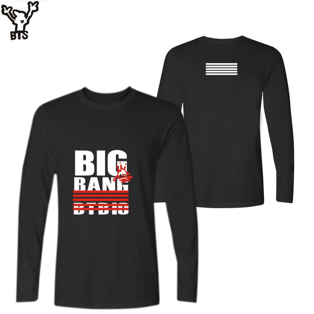 15ced8ea552d BTS Bigbang T-shirt Women Funny Kpop Korean Long Sleeve Long Tshirt Women  Cotton Black Printed Design T Shirt Casual Tee Top