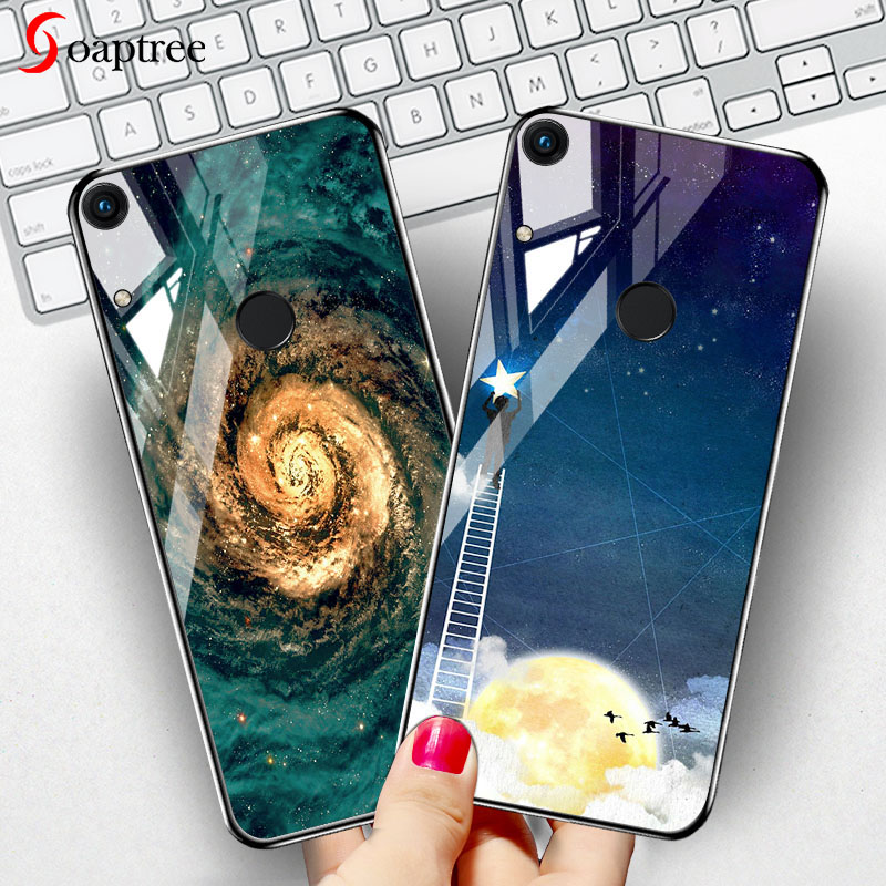 Soaptree Luxury Tempered Glass Case For Huawei Y6 2019 Cases Stars Space Cover On the for Honor 8A V20 Play Bumper