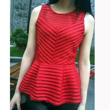 Small Size Women Clothing 2016 Summer Bouse shirt Short Sleeveless Solid Striped Slim Fit Mesh Peplum Blouses Shirts Tank Top