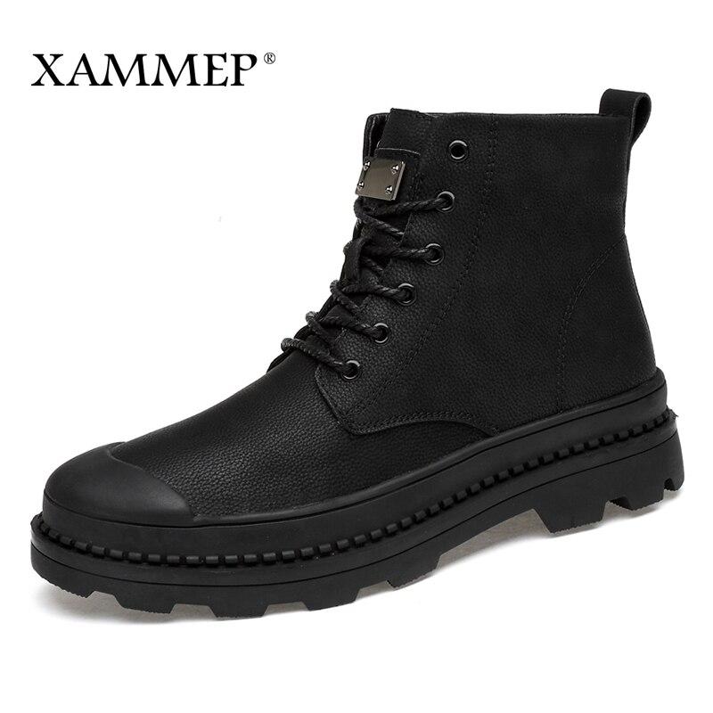 Genuine Leather Men Shoes Brand Winter Boots Winter Shoes Men Flats Casual Shoes Warm Plush Spring Autumn Plus Big Size Xammep mulinsen latest lifestyle 2017 autumn winter men