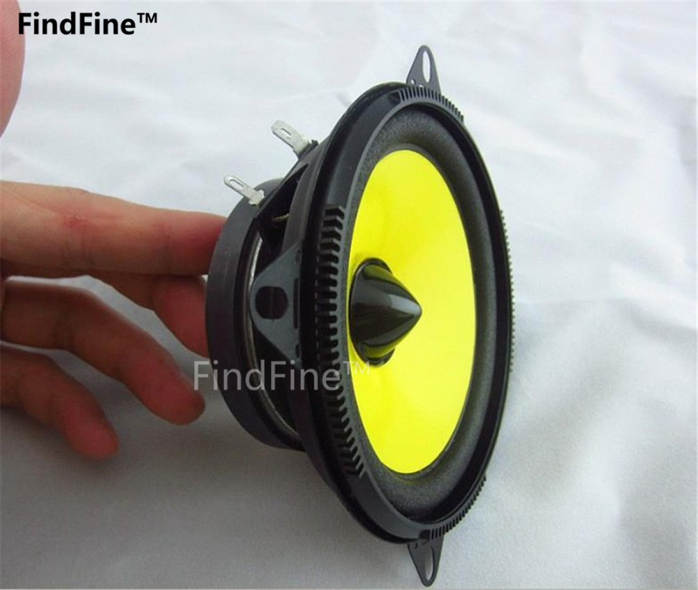 Findfine best great sound yellow 4 inch car speaker quality super good classic car horn monomer full range speaker in coaxial speakers from automobiles