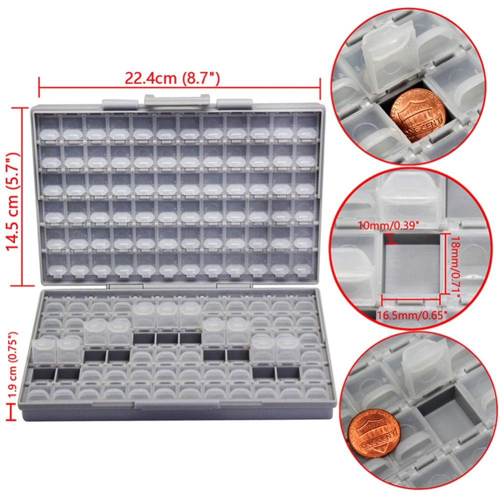 Hot DealsAidetek Resistors Case Organizer Storage-Box Compartment Surface-Mount Plastic Tiny Well