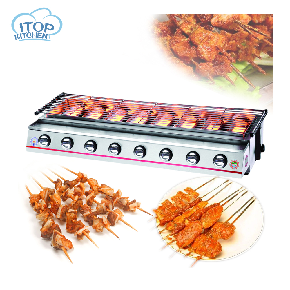 8-burners BBQ Grill LPG Gas Barbecue Silver Yellow Stainless Steel Painting Stove Commercial or Party Use