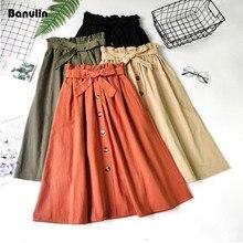 Banulin Summer Autumn Skirts Womens 2019 Midi Knee Length Korean Elegant Button High Waist Skirt Female Pleated School