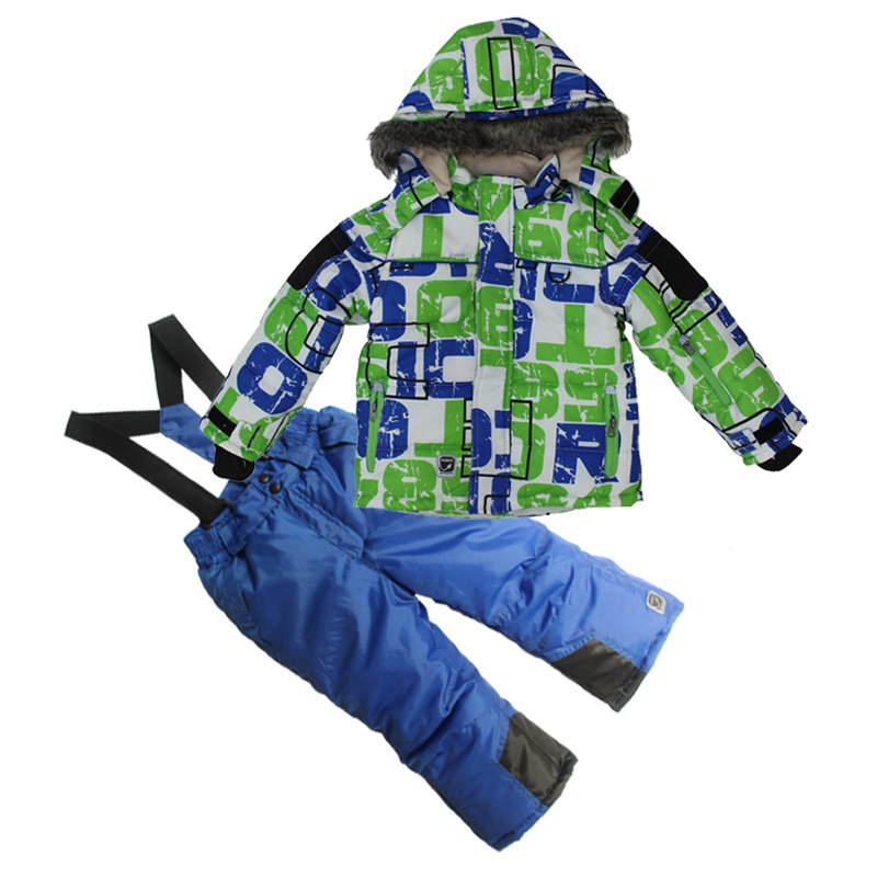 edb673cb4 Boys Outdoor Winter Skiing Jacket+Pant Ice Snow Sports Skateboard ...
