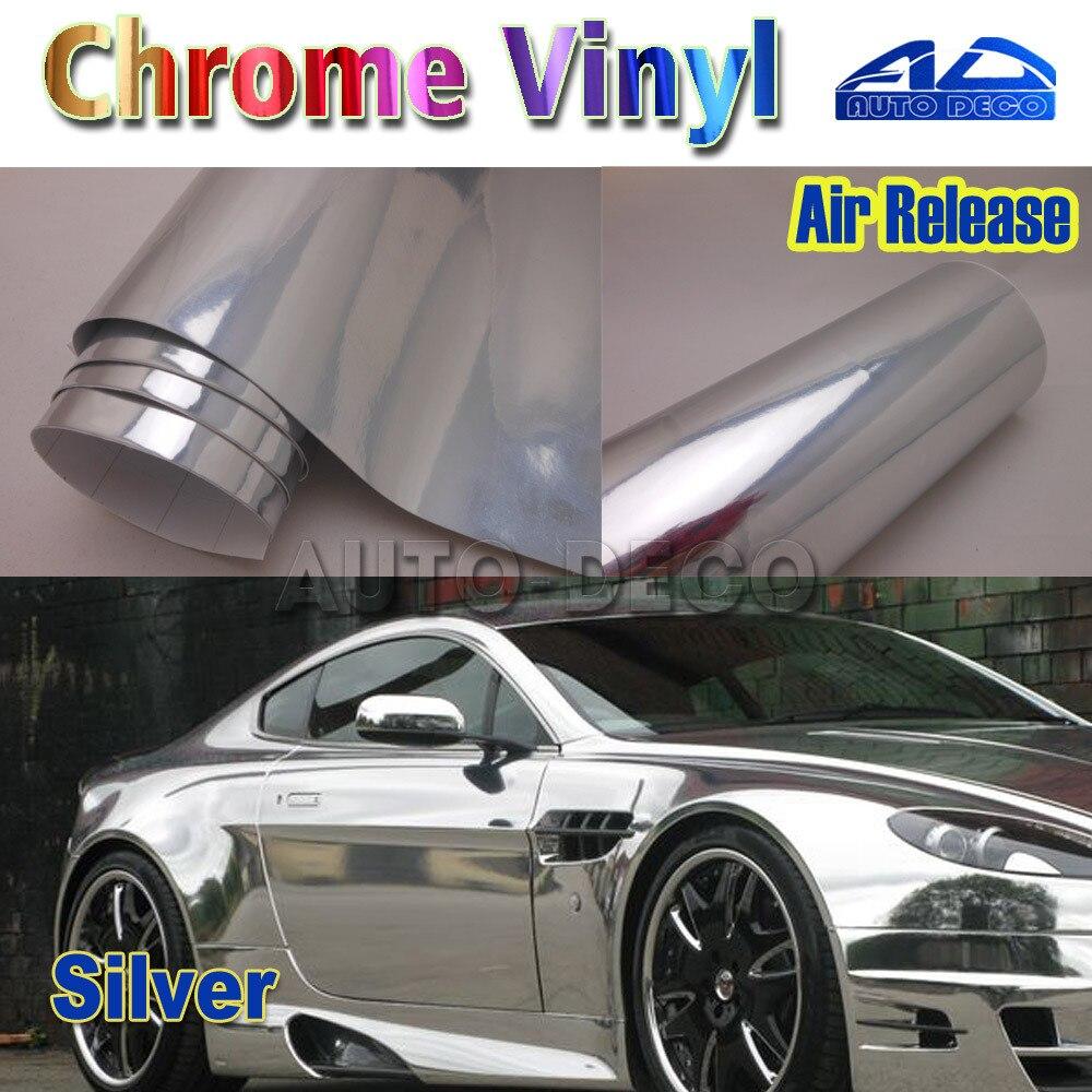 Оптовая серебро хром винил пленка с воздушный канал DIY автомобиля стайлинг наклейки FedEx Бесплатная доставка Размер:1.52*30m/рулон