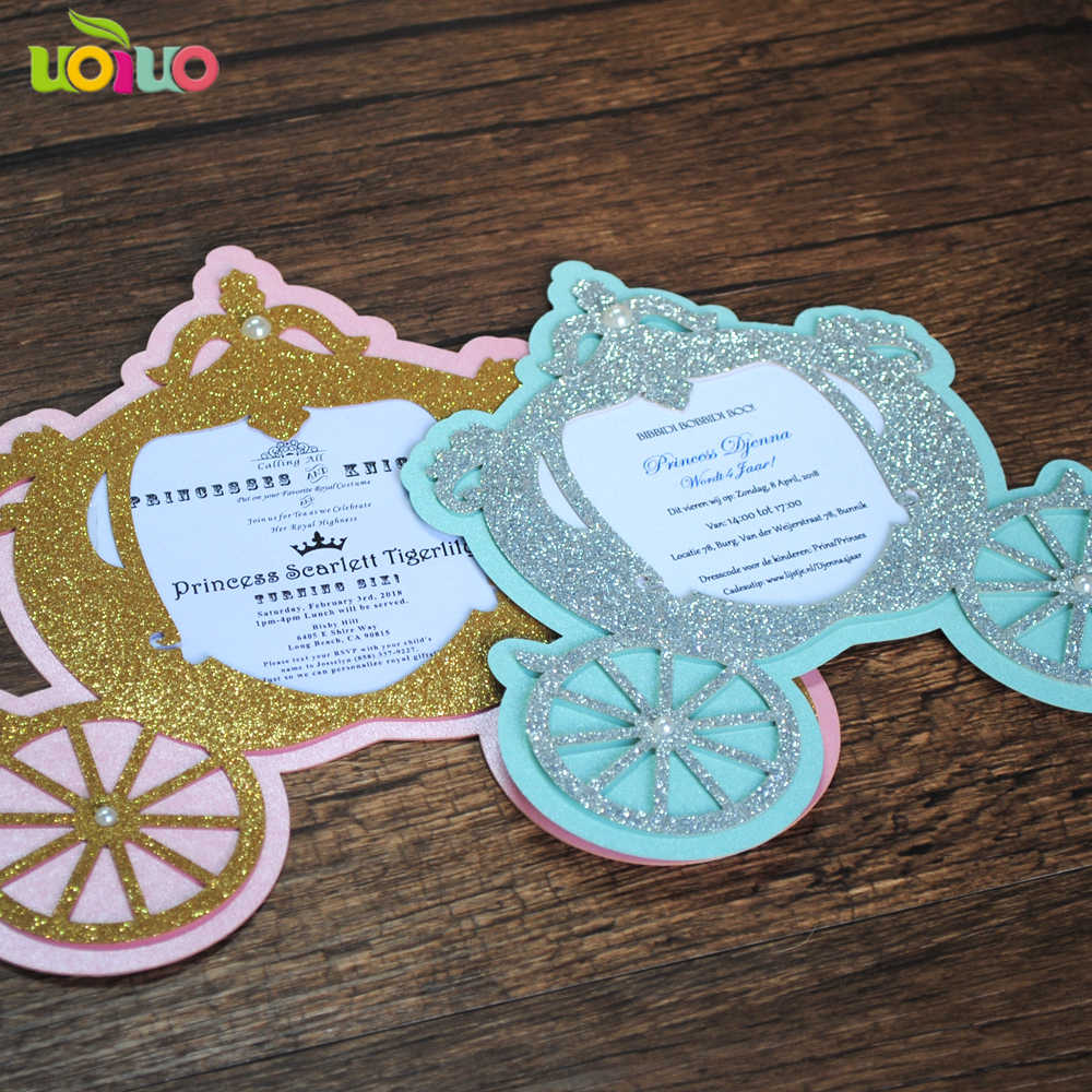 2018 Hot Sell Lovely Fancy Baby Birthday Invitation Card Laser Cut Paper Fairy Tale Carriage Christening And Baptism Invitations