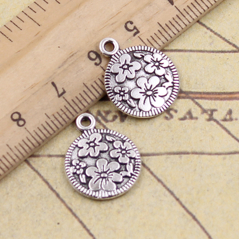 10pcs/lot Charms Circle Flower 18x15mm Tibetan Silver Pendants Crafts Making Findings Handmade Antique Jewelry DIY For Necklace