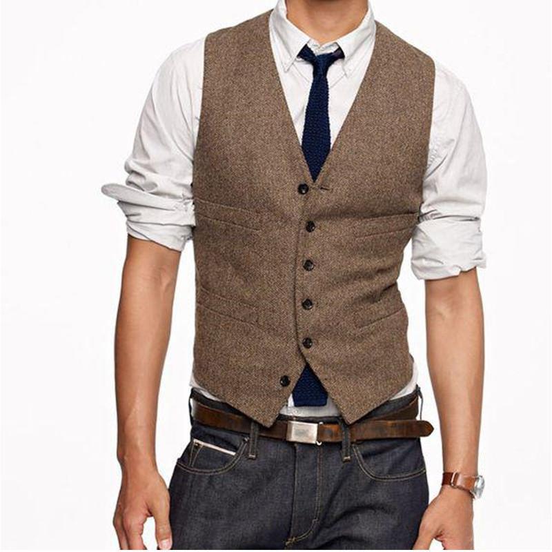 Gilet Vintage en Tweed marron pour hommes en laine Style angleterre gilet de costume pour hommes