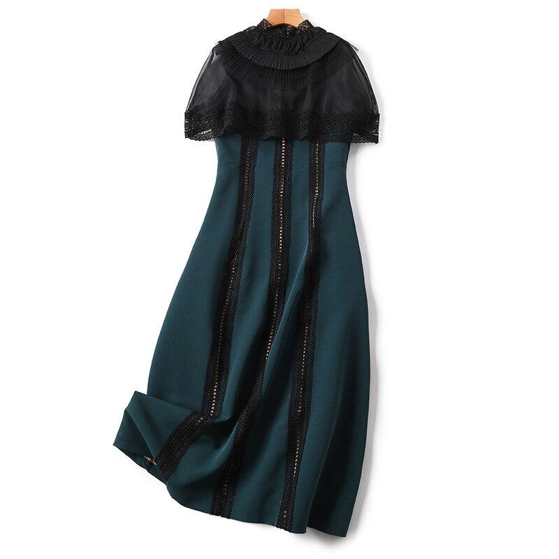 À Manteau Vinatge Travers 2018 Femmes Voir Les Haute Nouveau Robe Maille Manches Qualité Robes Femelle Piste Vestdios Printemps vOq1HU