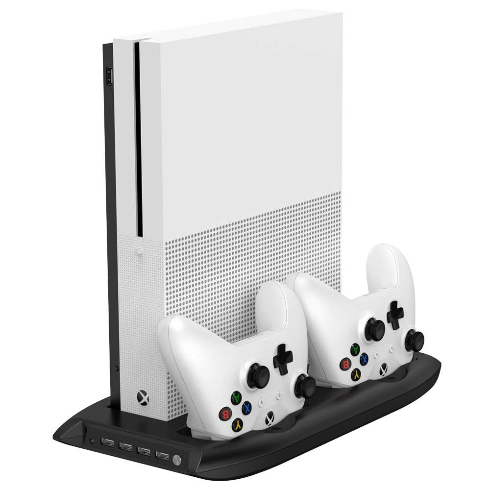 4 in 1 Vertical Stand for Xbox one S with 4 USB Ports Hub   Cooling Fan   Controller Charger Dock for Xbox one Slim Game Console