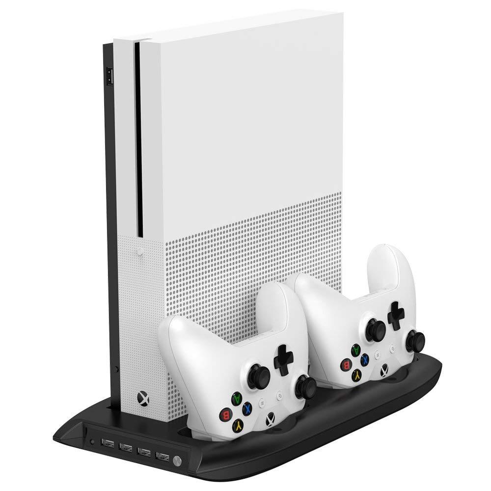 Neue Vertikale Stand Lüfter mit Dual Controller Lade Station und 4 Ports USB Hub für Microsoft Xbox One S