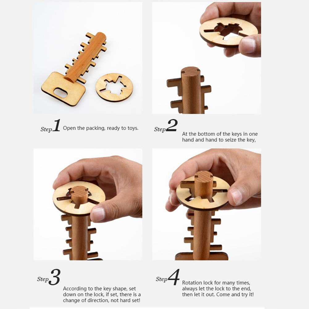 Key Unlock Puzzle Intelligence Educational Toys Puzzles Pre-school Wooden Kids Babies Children Wooden Toy