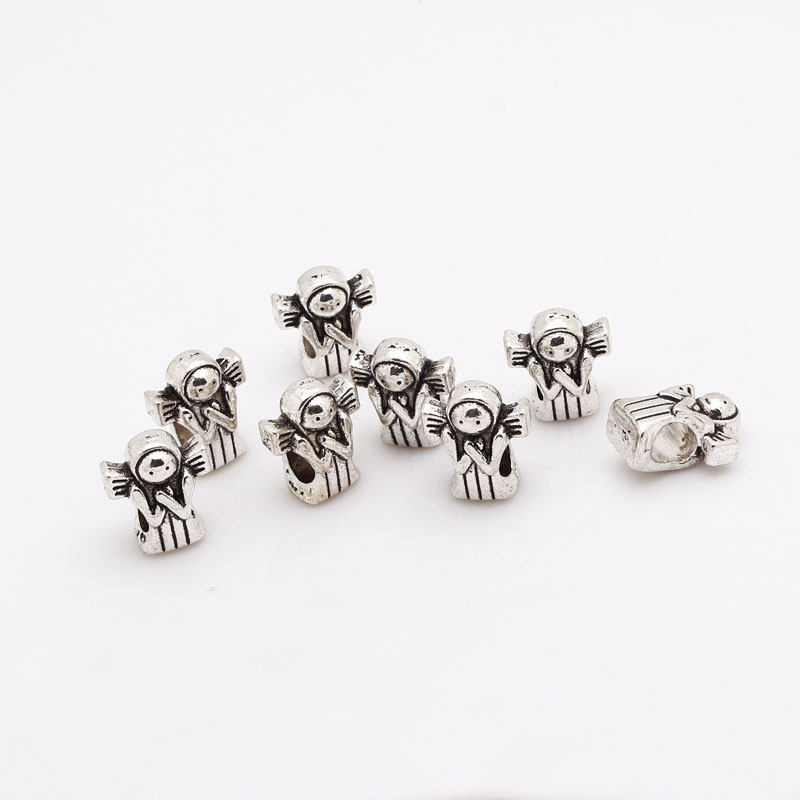 Antique Silver Metal Zinc Alloy Angel Beads Fit Pandora Charms Jewelry Making Beads 30pcs/lot B8486