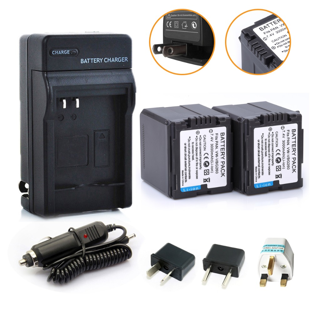 [Hibty] 2*7.4 V 3000 mAh li-ion VW-VBG260 VW VBG260 batería + cargador de coche para Panasonic HS250 SDR-SD7 HDC-MDH1 HDC-SD1 HDC-SD3