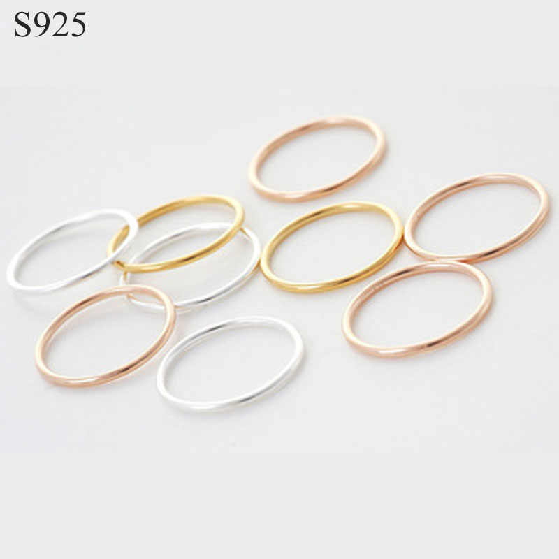 Genuine Real Pure Solid 925 Sterling Silver Rings for Women Jewelry Gold Blank Round Female Finger Ring Party Bague China Size