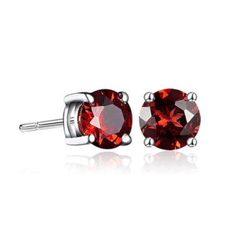 Detail Feedback Questions About Women Men Garnet Amethyst 18kgp Lady S Stud Earring 2017 Fashion Fast Shipping Violet Color 925 Sterling Silver Earrings