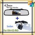 Sistema de estacionamento De Alta Resolução Auto 4.3 Cor Car Rear View Reversa espelho do Monitor + Câmera Ccd para K2 Rio Sedan Estacionamento Auxiliar