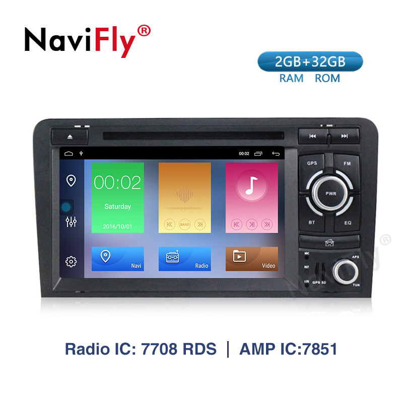 Navifly! 2G+32G Android 9.1 2din Car dvd radio audio GPS Navigation For Audi A3 S3 2002 2011 car multimedia player WIFI BT RDS