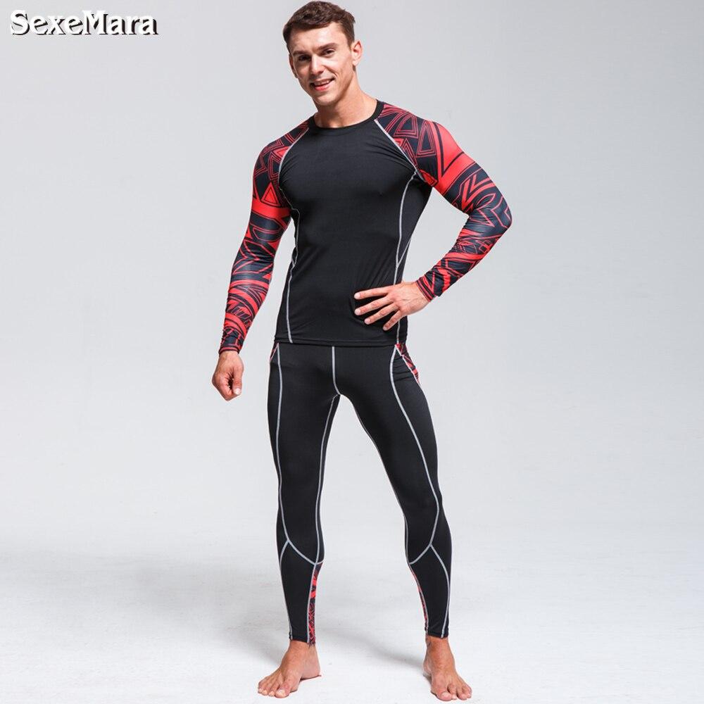 SexeMara thermal underwear Men 39 s underwear set compression tracksuit rashgard Fitness thermo MMA Gym sport suit men 39 s Long Johns in Long Johns from Underwear amp Sleepwears